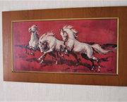 Groot Vintage Schilderij met Witte Paarden van Faust