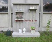 Steigerhout decoratiewand met plateau's
