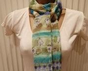 Prachtige Lange Zomer Sjaal in Groene en Blauwe Tinten