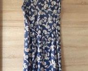 Gebloemde blauwe jurk stretch maat Large Nieuw