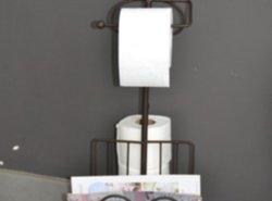 Meubelen staander wc rolhouder toiletpapierhouder 39 krul bruin 39 - Wc bruin ...