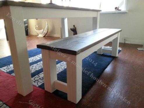 Meubelen mooie eettafel met zitbank van steigerhout for Steigerhout zitbank