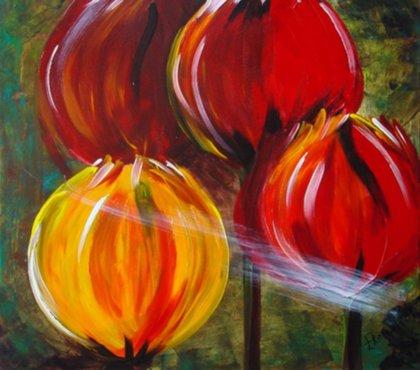 Kunst handgeschilderde schilderijen van bloemen for Schilderijen van bloemen