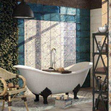 bouw - Wandtegels Retro Blauw Rustieke Tegels Vintage Badkamer ...