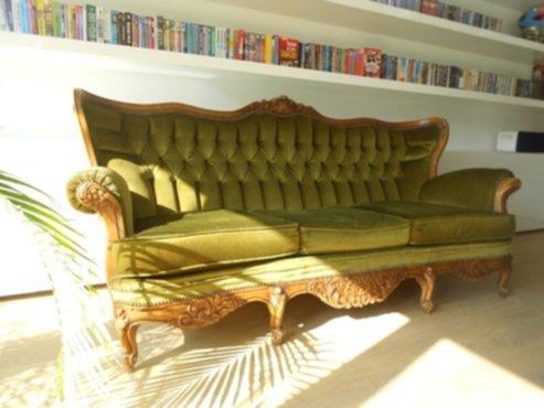 meubelen prachtige groene retro zetel